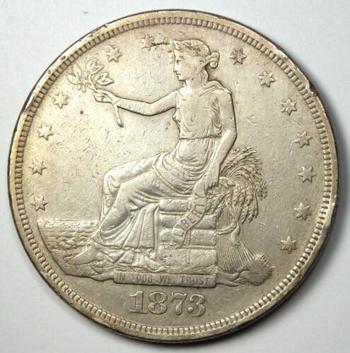 1873-P Trade Silver Dollar T$1 (1873) - VF Detail - Rare Date Philly Coin!