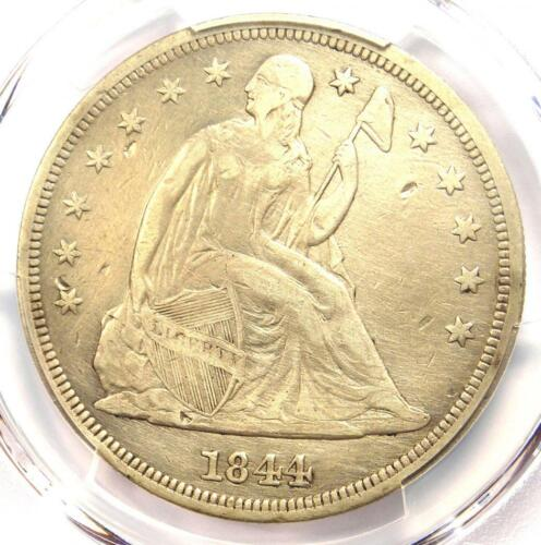 1844 Seated Liberty Dollar $1 - Certified PCGS Fine Details - Rare Date Coin!