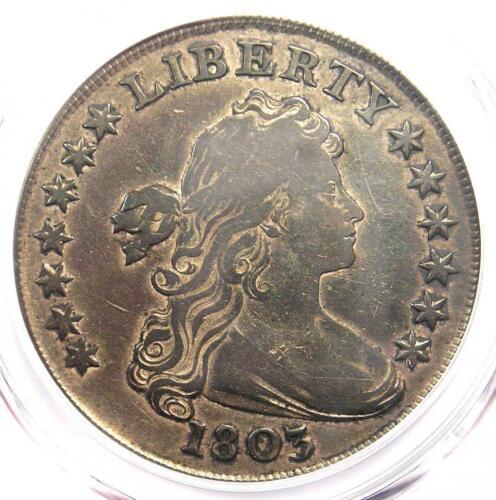 1803 Draped Bust Silver Dollar $1 (Large 3) - PCGS VF Details - Rare Coin!