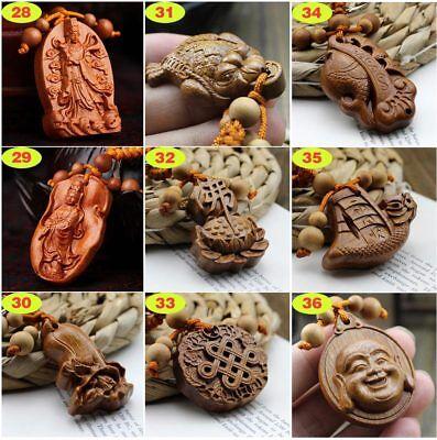 Chinese Geomancy Wood Carving Buddha Kwan Yin Dragon Zodiac Pendant Key Chain](Buddha Keychain)