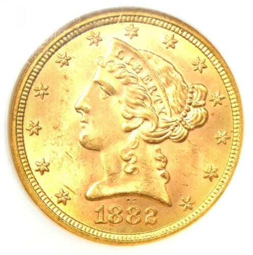 1882 Liberty Gold Half Eagle $5 Coin - NGC MS65 (Gem BU) - $3,850 Value!