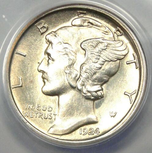 1924-D Mercury Dime 10C - ANACS MS60 Details (UNC) - Strong Bands - Rare Coin!