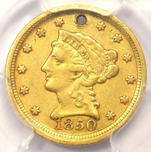 1850-D Liberty Gold Quarter Eagle $2.50 - PCGS XF Details (Holed) Dahlonega Coin