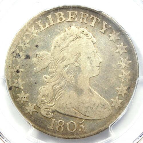 1805 Draped Bust Half Dollar 50C Coin - Certified PCGS F12 - Rare Coin!