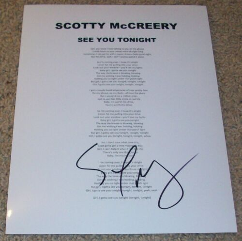 SCOTTY MCCREERY SIGNED AUTOGRAPH SEE YOU TONIGHT LYRICS SHEET w/PROOF