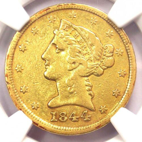 1844-D Liberty Gold Half Eagle $5 - Certified NGC XF Details - Dahlonega Coin!