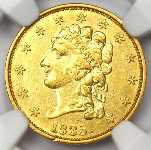 1835 Classic Gold Quarter Eagle $2.50 - Certified NGC AU Details - Rare Coin!