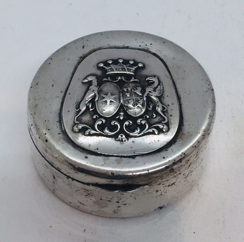Antique Early German Sterling Silver Coat Of Arms Crest Trinket Pill Box