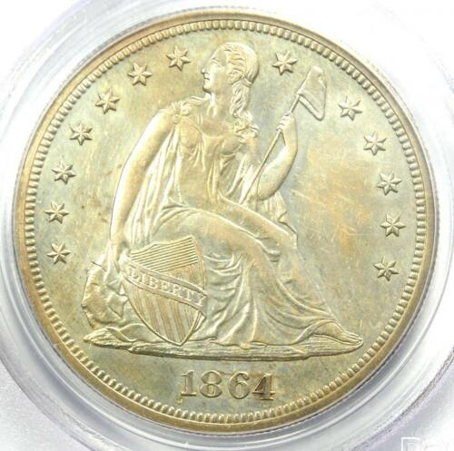 1864 PROOF Seated Liberty Silver Dollar $1 Coin - PCGS Proof Details (PR/PF)!
