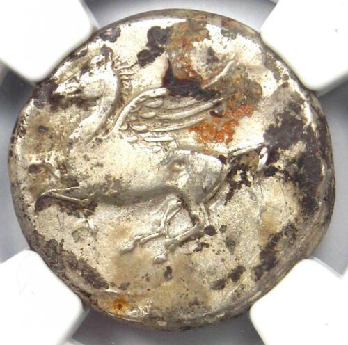 Acarnania Argos AR Stater Coin (350-300 BC) Pegasus & Athena - NGC Fine!