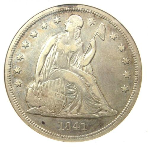 1841 Seated Liberty Silver Dollar $1 - ANACS VF30 Details - Rare Certified Coin!