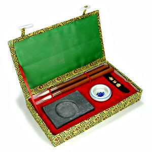 CALLIGRAPHY SET 2 Brushes Ink Writing Fabric Box Asian NEW Chinese Artist Travel