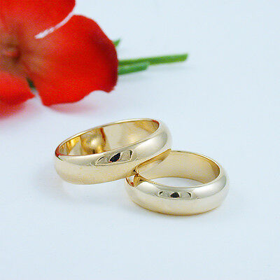 Gold Wedding Band Set - 6MM GOLD EP MATCHING HIS AND HERS SET COMFORT FIT WEDDING BANDS YOU CHOOSE SIZE