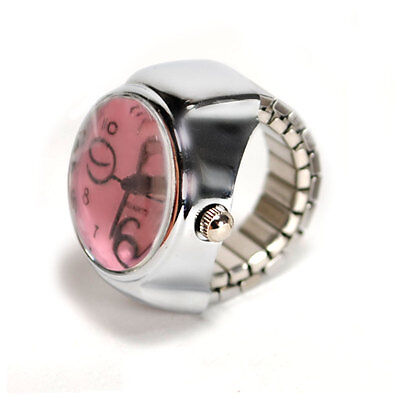 Watch Ring Finger Stretch Band Chrome Time Piece Jewelry Round Pink Face Gift