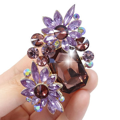 Brosche Anstecknadel Kristall Strass Bouquet Blume lila goldfarben Nadel edel