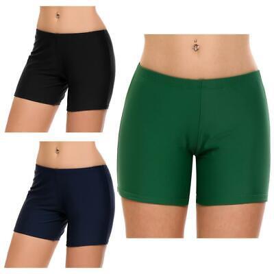 Frauen Mitte Taille Solide Swim Boyshorts Bikini Bottom Bademode LDMB