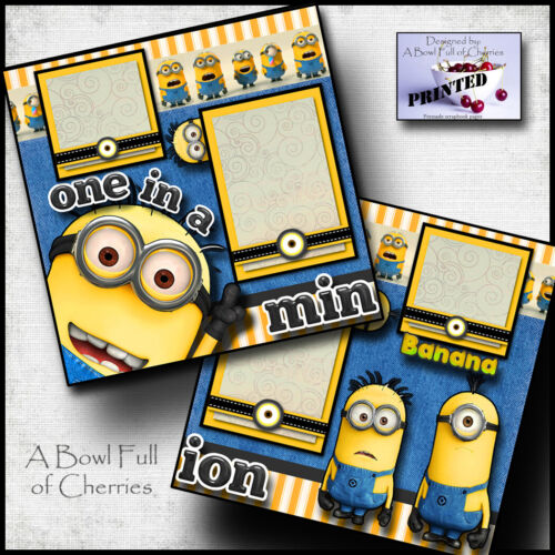 ONE IN A MINION UNIVERSAL STUDIOS 2 premade scrapbook pages printed CHERRY #0151
