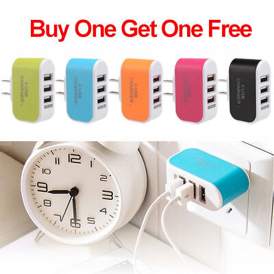 Cellular Phone Travel Adapter (3 Port USB Wall Charger Station Travel AC Power Adapter for Universal Cell Phone )