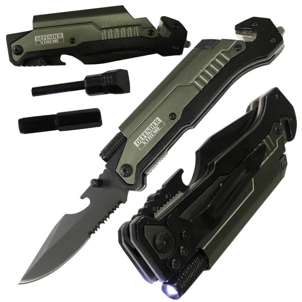 Tactical MULTI TOOL Spring Assisted Pocket Knife LED Bottle Opener FIRE STARTER