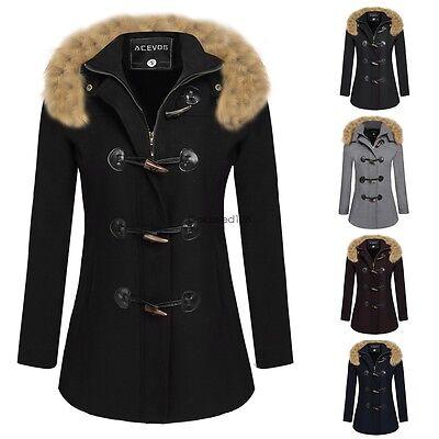Womens Warm Winter Overcoat Casual Faux Fur Jacket Coat Hooded Parka Outwear