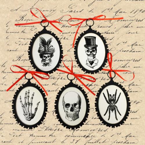 5 Vintage Style Halloween Ornaments Farmhouse Black and White Skeleton Decor