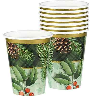 Season to Remember Green Holly Winter Christmas Holiday Party 9 oz. Paper Cups Remember Paper Plates