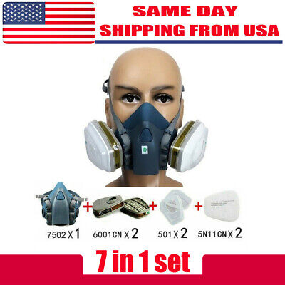 7pcsset Half Face Respirator Painting Spraying Face Gas Mask For 7502 Silicone