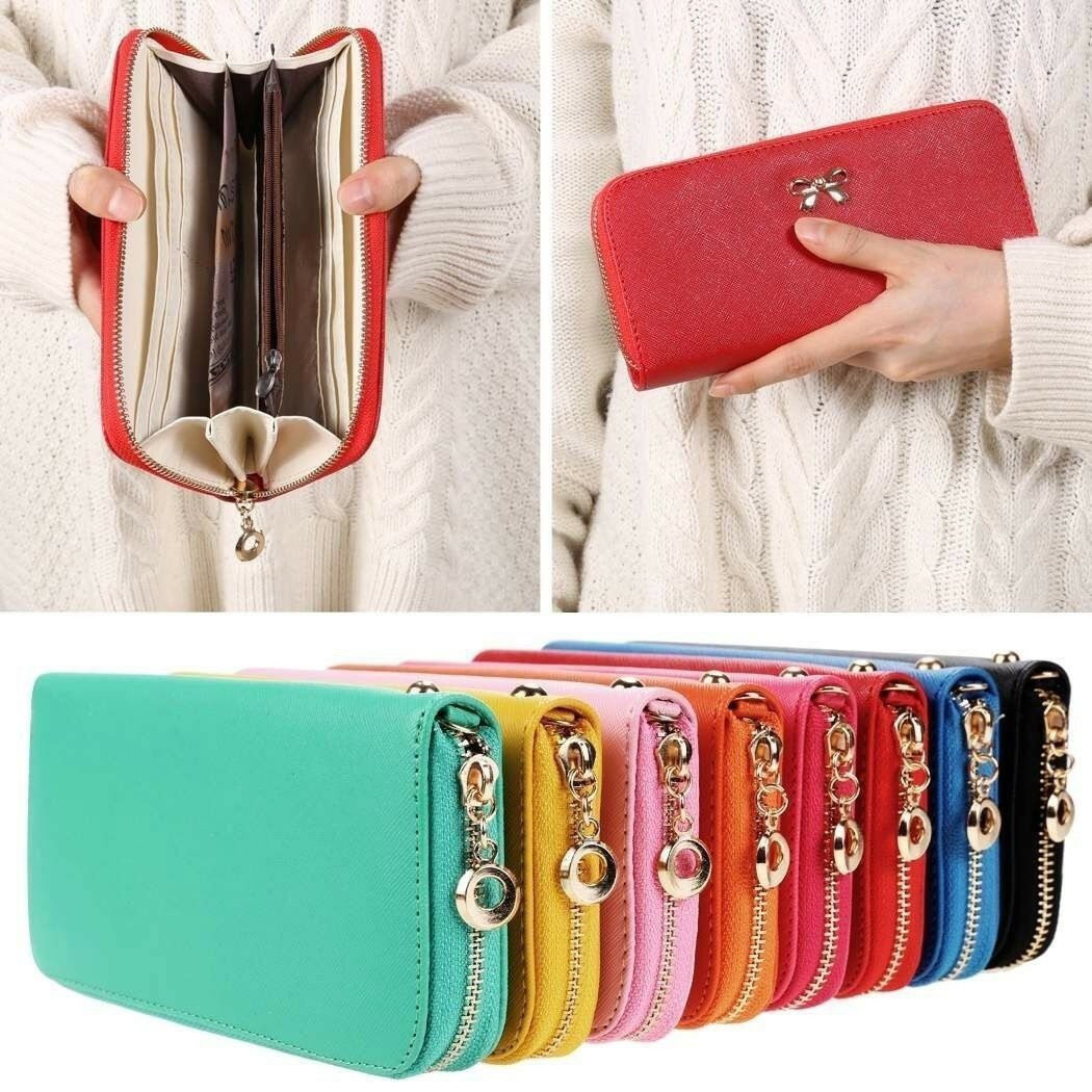 Women's Clutch Wallet Card Holder Case Purse Handbag Long Fashion Leatherette
