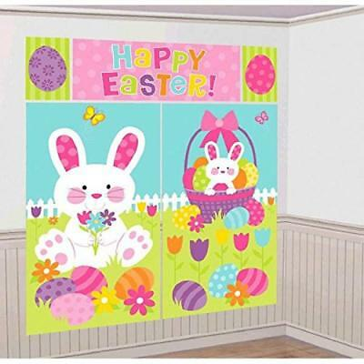 Egg-stra Special Bunny Easter Holiday Party Scene Setters Wall Decorating Kit - Easter Scene Setters