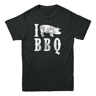 I Love Heart Pig BBQ Meat Bacon Barbecue Food Beef Cow Gift Funny Men's T-shirt ()