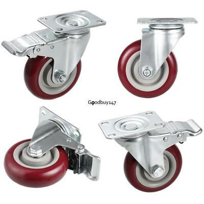4red Brake Wheel Caster 4 Wheel All Swivel Heavy Duty Mark Casters