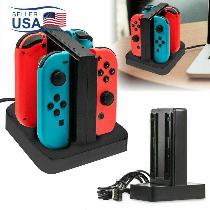 4 Ports Controller Charger Charging Dock Station for Nintendo Switch Joy-Con LED