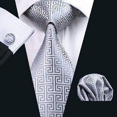 New Classic Novelty Silver JACQUARD WOVEN 100% Silk Mens Handmade Tie Set C-484