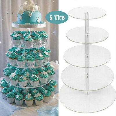 5 Tire Clear Acrylic Round Cake Cupcake Stand Wedding Birthday Tower Cake Decor