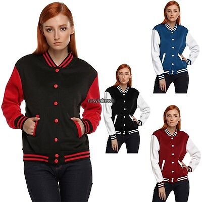 Womens Plain patchwork Baseball Jacket Coat College Casual Sweater Sports Tops