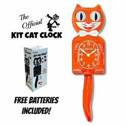 PUMPKIN DELIGHT KIT CAT CLOCK 15.5 Orange Free Battery USA MADE Kit-Cat Klock