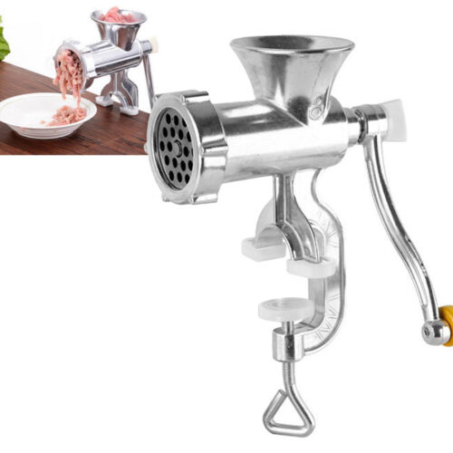 New Stainless Steel Cast Iron Manual Meat Grinder Table Hand