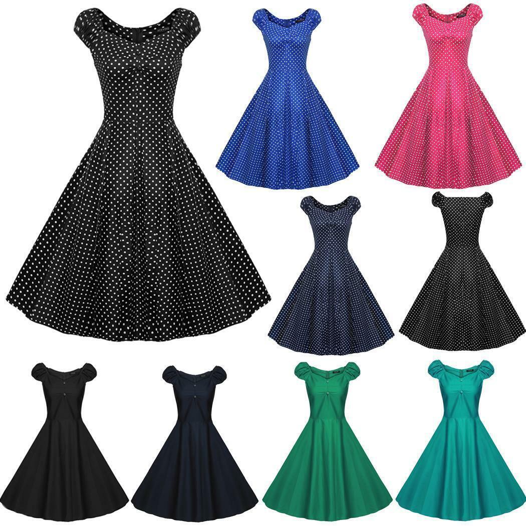 ACEVOG Retro Damen 1950er Jahre Vintage Stil Ärmellose Swing Partykleid JDDE 01