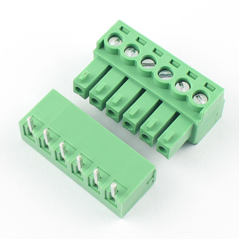 5Pcs 3.81mm Pitch 6 Pin Right Angle Screw Terminal Block Pluggable Connector