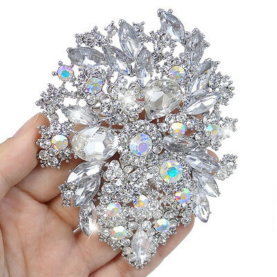 Bridal Flower Bouquet Brooch Pin Clear AB Austrian Crystal Bridesmaid Party Gift Clear Austrian Crystals Pin