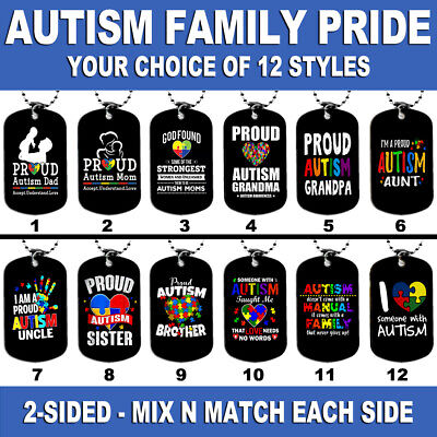 Grandma Tag (DOG TAG NECKLACE - AUTISM FAMILY PRIDE #S1 Autistic Mom Dad Grandma Brother Aunt )