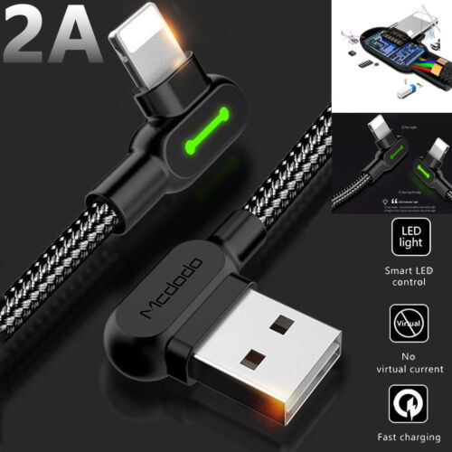 MCDODO 90°Lightning Cable Fast Charging USB Data Cord For i