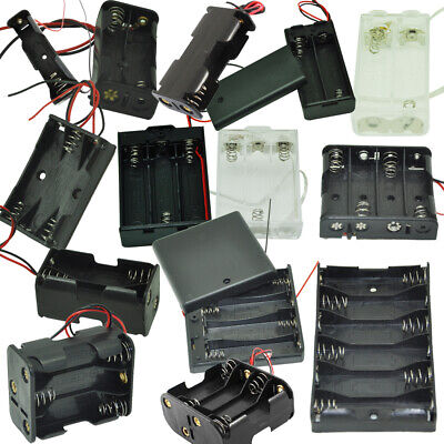 Aa Batteries Holder 1x2x3x4x6x8x Aa Cells Case Storage Box With Wire Leads