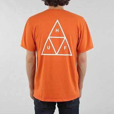 HUF Men's New Essentials Triple Triangle Short Sleeve T-shirt Rust Orange