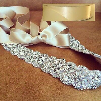 "Wedding Sash Belt, Bridal Sash Belt- Crystal Sash Belt = 19"" long in IVORY sash"