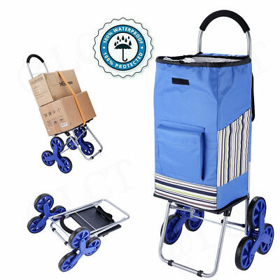 2-in-1 45l Foldable Stair Climber Shopping Cart Utility Cart Hand Truck Blueus