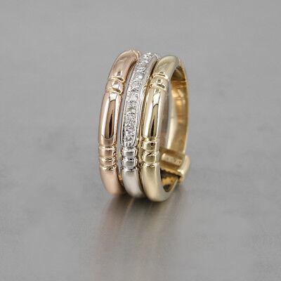 Ring 750/18k Gelbgold Weißgold und Rosegold mit  Brillanten 0,18 ct Größe 55 (Rose Gold Und Weißgold Ringe)