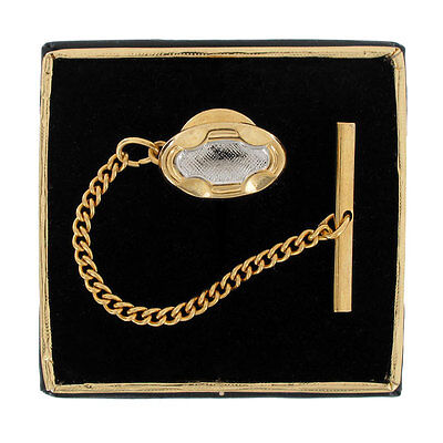 Men's Ornate Oval Gold & Silver Two Tone Tie Tac Tack Pin Gift Boxed