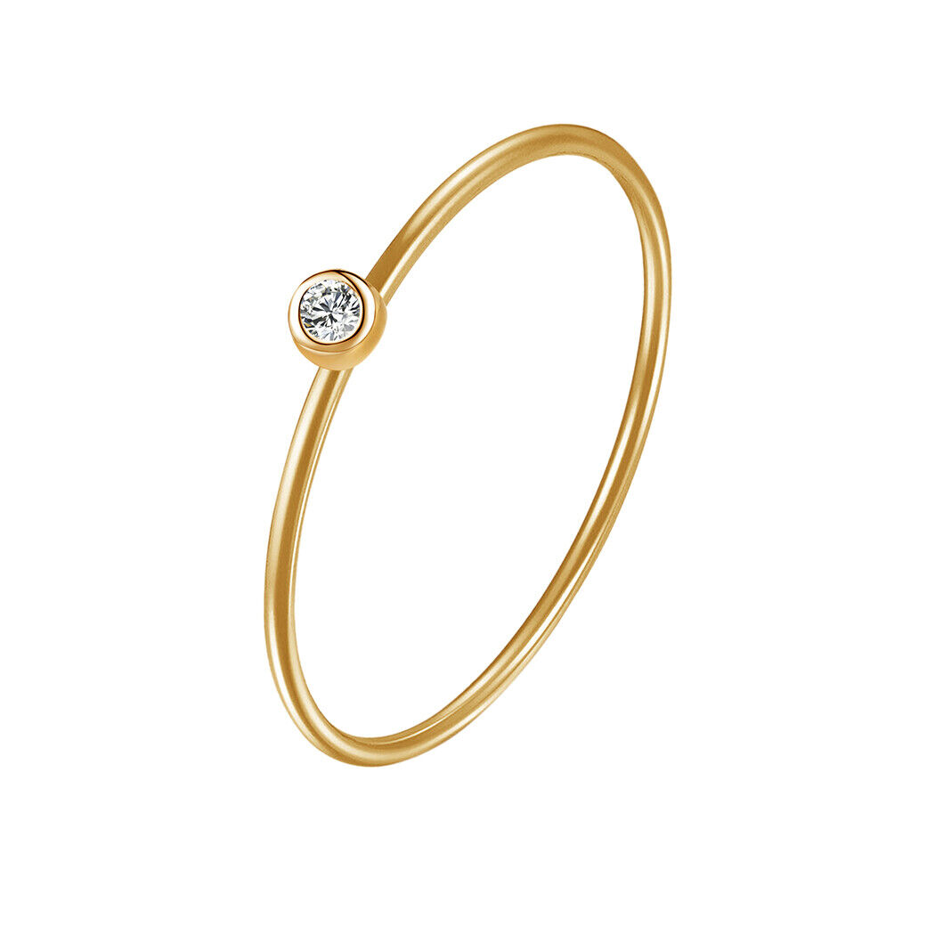 Inlay Setting Zircon Gold Color Finger Rings for Women Men M