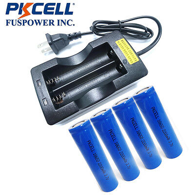 4x Li-ion 18650 Vape Mod Rechargeable Batteries Flat top 2200mAh+ 3.7V Charger